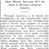 After charter, ground to be broken on first Hungarian Presbyterian church in state, article (Tonawanda News, 1910-10-01).jpg