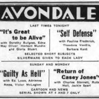 Avondale Theater ad, logotype (Tonawanda News, 1933-12-09).png
