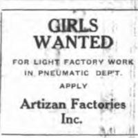 Girls Wanted, Artizan ad (Tonawanda News, 1923-11-28 ).jpg