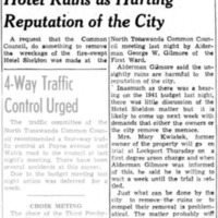 Ald. Gilmore Refers to Hotel Ruins as Hurting Reputation of the City, Kwiatek to stand trial for arson, article (Tonawanda News, 1941-02-04).jpg