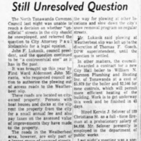 Plowing unofficial streets still unresolved question, article (Tonawanda News, 1960-12-14).jpg