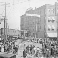 Hotel Sheldon during a parade, photo (Historical Society of the Tonawandas, c1910).jpg