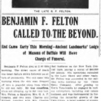 Benjamin F Felton Called to the Beyond, article (Tonawanda News, 1905-08-30).jpg