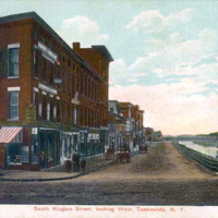 South Niagara Street, looking west, Tonawanda, illustrated postcard with drawing (1908).JPG