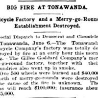 Big Fire at Tonawanda, Gillie Goddard destroyed, article (Democrat and Chronicle, 1896-06-06).jpg