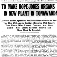 To make Hope-Jones organs in new plant in Tonawanda, article (Elmira Star-Gazette, 1910-04-26).jpg
