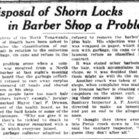 Disposal of shorn locks in Barber Shop a Problem, Pettit Creek, article (Ton News, 1925-03-05).jpg