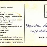 Elect John Lukasik Mayor, North Tonawanda, postcard back.jpg