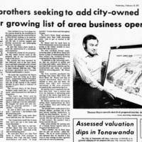 Hayes bros seek city-owned Marina, 555 River, photo article (Ton News, 1972-02-16).jpg