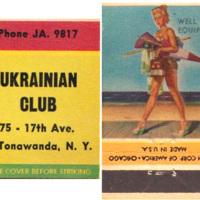 Ukranian Club, 75 17 Ave North Tonawanda, matchbook (c1950).jpg