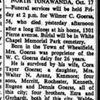 Wilmer C. Goerss, obituary (Niagara Falls Gazette, 1951-10-17).jpg
