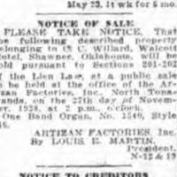Auction of an Artizan Band Organ Pursuant to Lien Law, notice (Tonawanda News, 1928-11-21).jpg