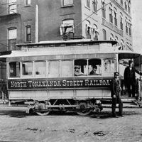 North Tonawanda Street Railroad trolley outside Hotel Sheldon (Wittkowsky Collection, c1893).jpg