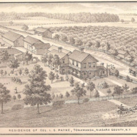 Residence of Col. L.S. Payne, illustration detail (Wheatfield St in foreground, looking north up Payne Ave) (1878, History of Niagara County 1821-1878).jpg