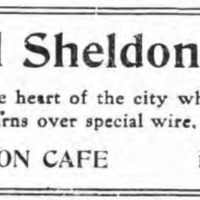 Hotel Sheldon Cafe, baseball returns over special wire, ad (Tonawanda News, 1914-05-14).jpg
