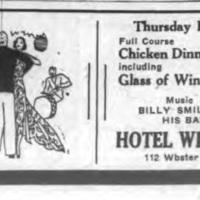 Hotel Webster, Billy Smiles and His Band, ad (Tonawanda News,1935-03-14).jpg