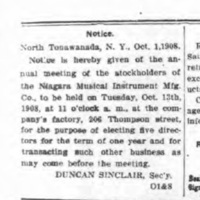 Niagara Musical Instrument Mfg. Co. stockholder meeting notice (Tonawanda News, 1908-10-08).jpg