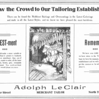 Adolph LeClair, Merchant Tailor, 37 Webster, ad (Tonawanda News, 1905-12-20).jpg