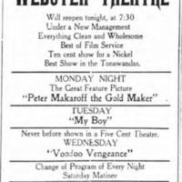 Webster Theatre will reopen tonight, ad (Tonawanda News, 1914-06-22).jpg