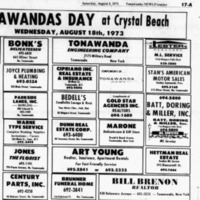 Bedell's, Bonk's listing, other ads (Tonawanda News, 1974-08-04).png