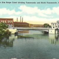 Bridge over Erie Barge Canal dividing Tonawandas, postcard.jpg
